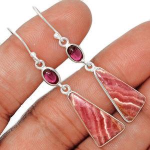 Pink Gemstone Earrings 925 Sterling Silver, Garnet